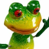 Flower frosk med metallfjærer grønn, gul H65.5cm