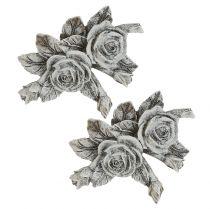 Rose til gravpynt polyresin 10cm x 8cm 6stk
