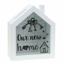 """Oppbevaringsboks """"Our New Home"""" tre glass hvit 15x7cm H18cm"""