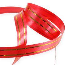 Gavebånd 2 gullstriper på rød 10 mm 250m
