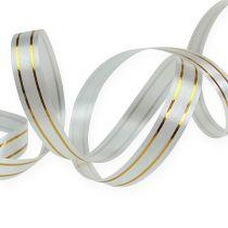 Delt bånd 2 gullstrimler på sølv 10 mm 250m