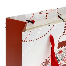 Gavepose hvit med mønster 18cm x 23cm 1p
