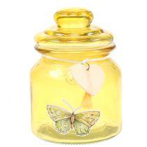 Glassburk Bonboniere gul Ø11cm H15,5cm