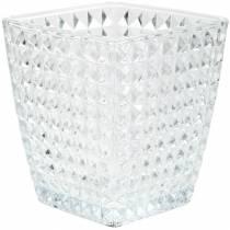 Glasslykteterning fasettert mønster, borddekorasjon, vase laget av glass, glassdekorasjon 2stk