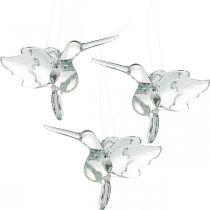 Glassdekorasjoner av paradis, dekorasjon kolibri, glass anheng, fugledekorasjon 3stk