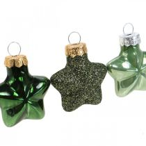 Mini juletrepynt blanding grønt glass Julepynt assortert 4cm 12stk