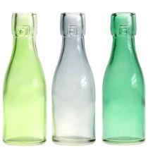 Glassflaskevase Ø5cm H16cm grønn / grå 6stk