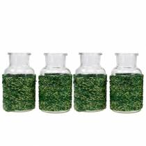 Glassflaske med raffia grønn H10cm 4stk