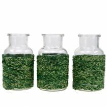 Glassflaske med raffia grønn H12,5cm 3stk