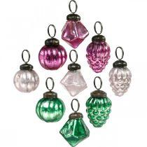 Glasskuleblanding, diamant / ball / kjegle laget av ekte glass, antikk utseende Ø3–3,5cm H4,5–5,5cm 9stk
