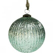 Glasskule for å henge blå vintage julepynt glass Ø15cm
