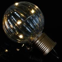 Solar LED-lampe retro utseende gjennomsiktig varmhvit Ø8cm
