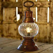 LED stormlykt, metallampe, dekorativ lampe, vintage utseende Ø12,5cm H30cm