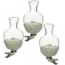 Glassvase med klipsglitter og perler Ø4,9cm H9,5cm klar 3stk