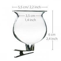 Vase bjelle i glass med klips klar Ø5,5cm H6cm 4stk
