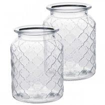 Glassvase diamantmønster, lanterne, dekorativt kar laget av glass, borddekorasjon 2stk