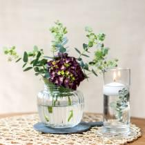 Vase i ribbet glass Ø11cm H10cm