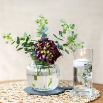 Vase i ribbet glass Ø14cm H13cm