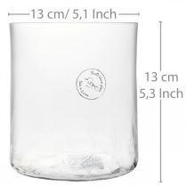 Sylindrisk glassvase Crackle clear, satined Ø13cm H13.5cm