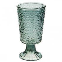 Lykt med fot, koppeglass, dekorasjonsglass grå Ø10cm H18,5cm
