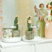 Glasslykt, dekorativ vase, stearinlysdekorasjon Ø18,5cm H21cm