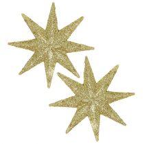 Glitter stjerne gull Ø10cm 12stk