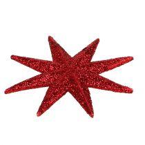 Glitter stjerne rød Ø10cm 12stk