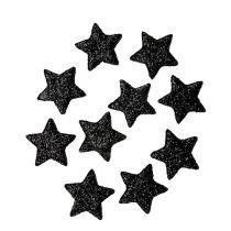 Glitter stjerne svart 2,5cm 100stk