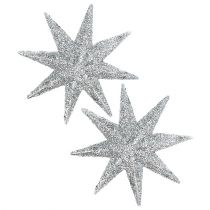 Glitterstjerne sølv Ø10cm 12stk