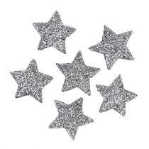 Glitterstjerne sølv Ø2,5cm 48stk