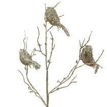 Glitter gren med fugler 75cm gull