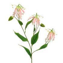 Gloriosa rosa-hvit kunstig 84cm 3stk