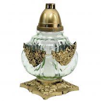 Gravlyglass med rosemønster 14cm x 14cm H27cm 2stk