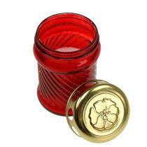 Glassgravlys rød Ø6cm H11cm 12stk