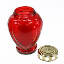 Gravlys hjerte rød 11,5cm x 8,5cm H17,5cm 4stk