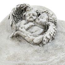 Gravdekorasjonshjerter med engel 9cm 3stk