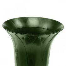 Gravvase 42cm mørk grønn vase gravdekorasjon begravelsesblomster 5stk