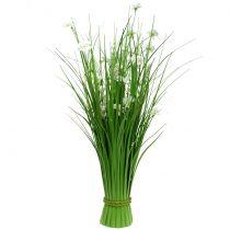 Grasbunt med blomster hvite 70cm