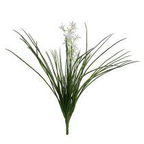 Gressbuske med blomster grønn, hvit 3stk