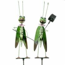 Gresshoppe hageplugg metallgrønn H114cm 2stk