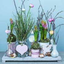 Hengende dekorasjon hjerte blomst sommerfugl hvit, rosa tre vår dekorasjon 6stk