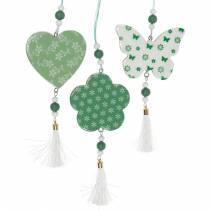 Hengende dekorasjon hjerteblomst sommerfugl hvit, grønn tre vårdekorasjon 6stk