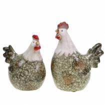 Dekorative figurer høne og hane grå, hvit, rød 10,2 cm x 7 cm H12,7 cm 2 stk