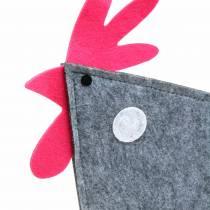 Dekorativ hane laget av filt med prikker grå, hvit, rosa 30cm x 5cm H31,5cm påskedekorasjon, butikkvindu