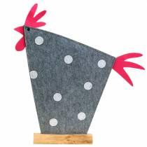 Dekorativ hane laget av filt med prikker grå, hvit, rosa 57cm x 7cm H58.5cm utstillingsvindu
