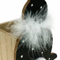 Bunny planter boks fjær boa svart, hvit prikket påskehare