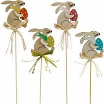 Bunny med påskeegg på pinne, blomsterplugg påskeharen, trepynt påske, dekorplugg, blomsterdekorasjon 12stk