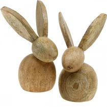 Påske dekorasjon kanin tre dekorasjon sittende påske kanin natur 12cm 4stk