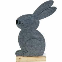 Sittende kanin filt grå 27cm x 6cm H40.5cm