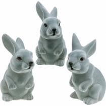 Påskehare sitter oppreist, dekorasjonsfigur kanin strømmet, påskedekorasjon 3stk